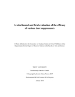 wind tunnel and field evaluation of the efficacy of various dust suppressants