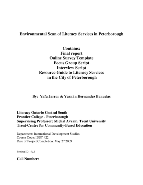 Environmental scan of literacy services in Peterborough ...